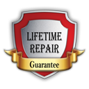 Lifetime Repair Guarantee. The average repair costs out of warranty is approximately $100 plus S&H